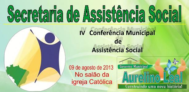 Secretaria de Assistência Social realizará sua IV conferência municipal