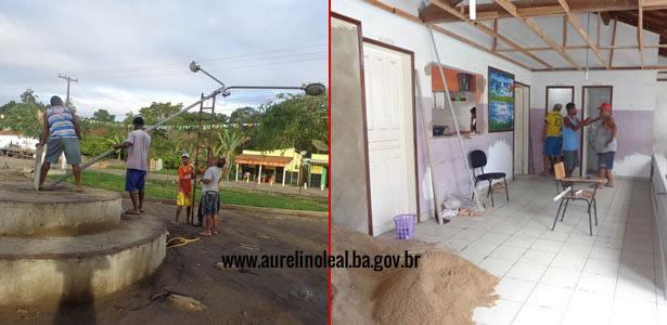 Secretaria de obras e limpeza pública executam reparos e reformas pelo município