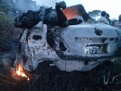 Camacan: Depois de batida, carro explode em acidente na BR-101; dois morreram