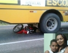 Mãe e filho morrem em batida de moto com ônibus escolar
