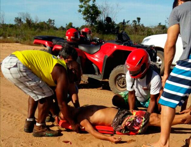 Maraú: Quadriciclo capota e deixa homem gravemente ferido em Barra Grande