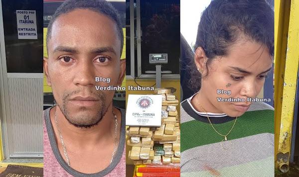 PRF e TOR apreendem mais de 84 kg de maconha na BR 101 em Itabuna, casal está preso